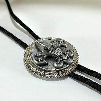 Eagle Scout Bolo Tie, Boy Scouts of America, Suit Accessory, Unisex Accessory, Cub Scouts, Vintage Accessory, Merit Badge, First Class Scout