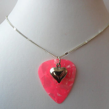 Fender Pink guitar pick necklace with heart charm