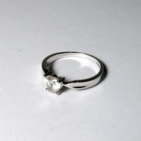 Heart CZ Ring Size 8 Clear Stone Silver Promise Ring Purity Ring Teen Girl April Birthstone Faux Diamond Style