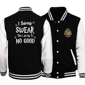 I Solemnly Swear That I Am Up To No Good Print Jackets Men 2018 Hot Sale Sweatshirt Men's Sportswear Jackets Harajuku Hip Hop