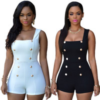 Women Sexy Black Rompers Short Jumpsuits White Bodysuits Monos Womens Overalls Bodycon Playsuits Ladies One Piece Romper