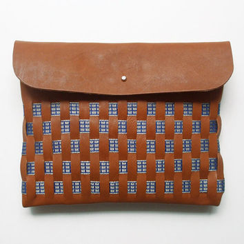 WOVEN CLUTCH // large size // brown leather with blue ribbon