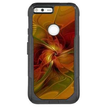 Abstract Red Orange Brown Green Fractal Art Flower OtterBox Commuter Google Pixel XL Case