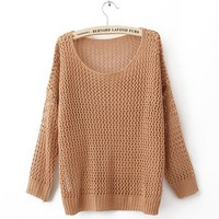 Pretty & Trendy Pure Color Hollow-out Long Sleeve Sweater----Coffee