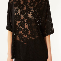Daisy Burnout Tee - Back In Stock - New In - Topshop