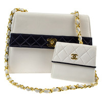 Chanel White/Navy Color Block Bag