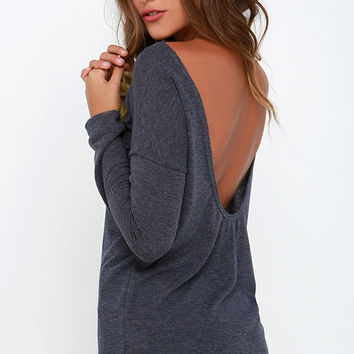 Afternoon Daydream Dark Heather Blue Backless Sweater