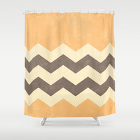 Peach, Grey and Cream Chevron Shower Curtain by Kat Mun | Society6