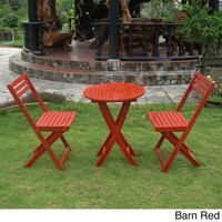 International Caravan Acacia Hardwood 3-piece Folding Bistro Set | Overstock.com Shopping - The Best Deals on Bistro Sets