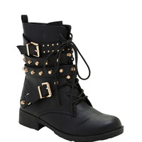 Black & Gold Buckle Stud Combat Boots