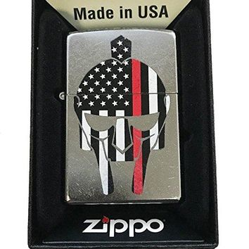 Zippo Custom Lighter - Gladiator Red Line Firefighter Support - Street Chrome