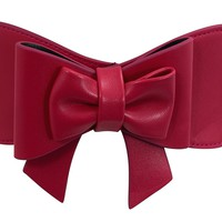 Banned Vintage Pin-up Retro Bow Accent Elastic Wide Stretch Waist Belt
