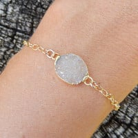 Champagne Petite Druzy Bracelet Gold Dainty Small Oval Tan Nude Crystal Quartz Drusy Gold Filled Chain - Free Shipping OOAK Jewelry