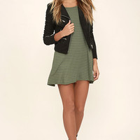 Billabong Lost Heart Sage Green Striped Dress