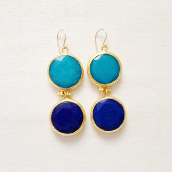 LARGE dangle long  DUAL  turquoise blue and classic blue gemstone earrings gold gemstone earrings Israel jewelry