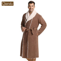 Qianxiu Brand Pajamas Fashion Thicken Men Robe Soild Robe Casual Plus sizeWomen Bathrobe