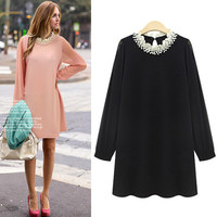 Bead Neck Loose Chiffon Dress