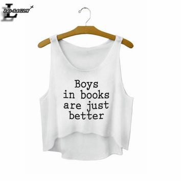 """Boys in books are just better"" Letters White Crop Tops Summer Style Fashion Women T shirts Sleeveless Tank Tops Sexy Vest F720"