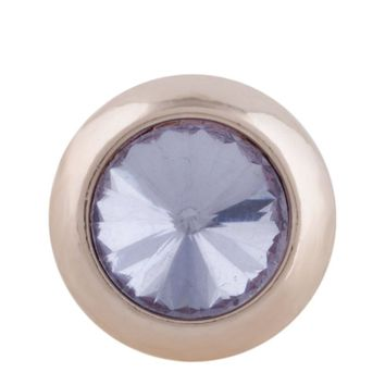 "Snap Charm Rose Gold Border Lilac Purple Crystal 12mm Mini 1/2"" Diameter Fits Ginger Snaps"