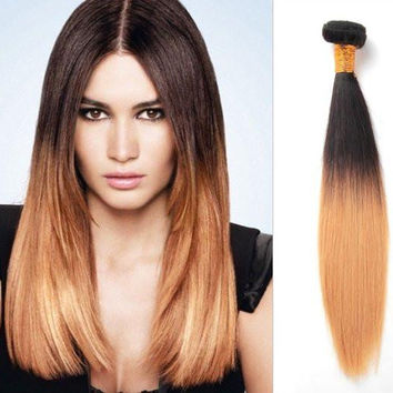 10-30'' Two Tone Natural Straight Brazilian Hair Weaving Bundles,Shedding Free Authentic Cuticle Remy Human Hair Ombre Weft Extensions
