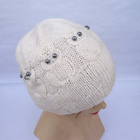Handknitted Owl Hat, Cable Beanie Hat, Women Hat in White, White Hat, Handmade Hat, UK Seller