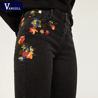 Vangull Flower embroidery jeans female Vintage casual pants autumn winter Pockets straight jeans women bottom Plus size