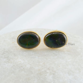 Natural Ammolite Oval 8x11mm Stud Micron Gold Plated 925 Sterling Silver Earring Jewelry - #6702