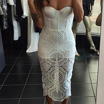 Chicloth White Cutout Lace Panel Bustier Bandage Dress
