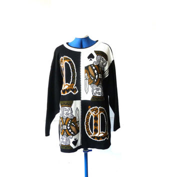 80s POKER FACE jumper . novelty sweater. knitwear. made in england . king of spades . queens . playing cards sweater . las vegas . gambling