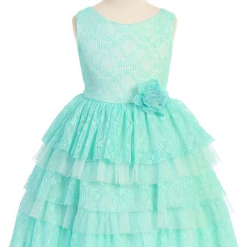 Girls Mint Green Floral Lace Dress w. Tiered Lace & Tulle Skirt 2T-12