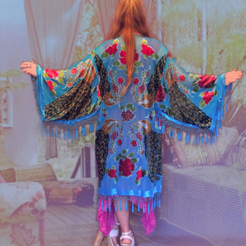 Beaded large silk fringe kimono / turquoise peacock velvet jacket / embellished Stevie Nicks opera coat