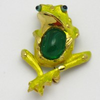 HATTIE CARNEGIE Metallic Enamel Glass Belly Frog Brooch