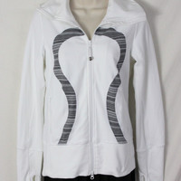 Lululemon Jacket 6 S size White Black Gray Accent Zip Front Active Stretch Yoga