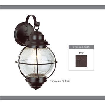 Trans Globe Lighting 69901 RBZ Onion Rustic Bronze Lantern Wall Mount 15-Inch with Clear Seeded Glass