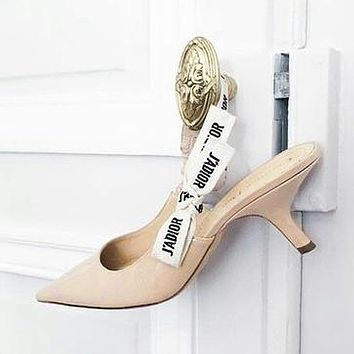 Dior Pumps Women Sandals Kitten heels with bows Word Flag Lace up High Heel Shoes B-ALS-XZ Khaki