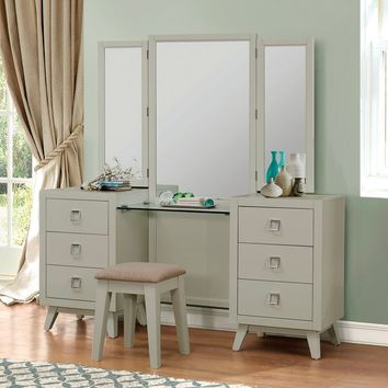 3 pc Valpico collection cool grey with olive undertone finish wood bedroom make up vanity set
