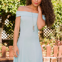 Merida Off The Shoulder Dress - Blue