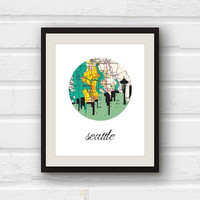 Seattle Art - Seattle Skyline - Seattle Map - 5x7 Seattle Print