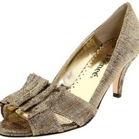 J.Renee Women`s Cicily Open-Toe Pump,Platinum/Gold,11 M US
