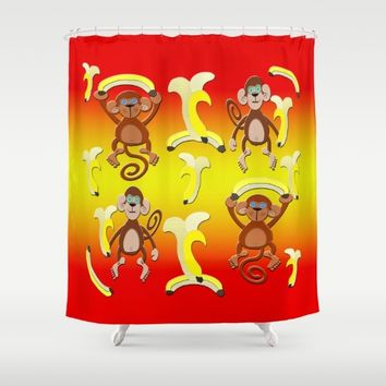 Bananas Monkeys Pattern Shower Curtain by Deluxephotos
