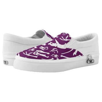 Dinosaur Bones (Purple) Slip-On Sneakers