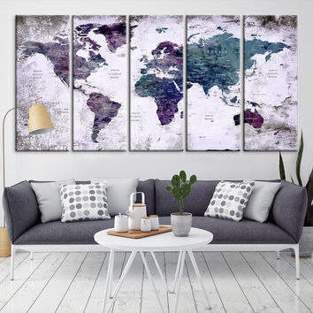 59523 - World Map Wall Art- World Map Canvas- World Map Print-  World Map Poster- World Map Art- World Map Push Pin
