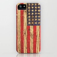 Vintage Patriotic American Flag on Old Wood Grain iPhone Case by Railton Road | Society6