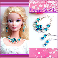 barbie doll jewelry set barbie red Rhinestone necklace and earring