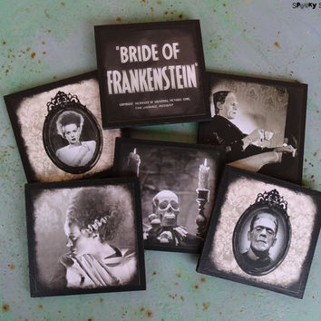 Frankenstein's Bride coasters - set of 6 wooden coasters - Bride Of Frankenstein,classic horror movies,monster,Halloween decor,gothic,spooky