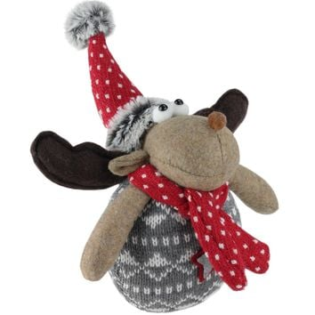 """8"""" Gerry the Reindeer Brown and Red Table Top Christmas Reindeer Decoration"""