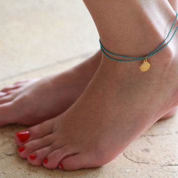 Turquoise Anklet - Multistrand Ankle Bracelet - Gold Anklet - Foot Jewelry - Foot Bracelet - Chain Anklet - Summer Jewelry - Beach Jewelry