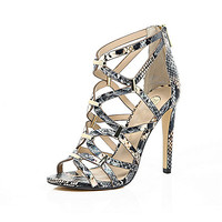 Grey snake print caged heels - heeled sandals - shoes / boots - women
