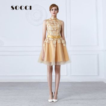 Fashion short Gold Evening dress 2016 High neck Lace flower bow Sashes sweet mother of bide dresses Formal wedding party gowns