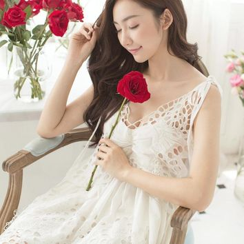 Women summer cotton sleeveless condole Nightgown Lady princess lovely Korea style butterflies embroidered Nightdress Homewear